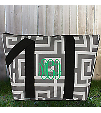 Gray and White Greek Key Insulated Lunch Bag #LT15-704-GRAY