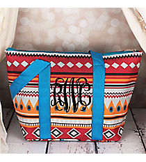 Pink Aztec with Blue Trim Insulated Lunch Bag #LT15-705-BL