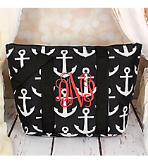 Black and White Anchor Insulated Lunch Bag #LT15-706-BK-BK