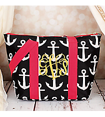 Gray and White Anchor with Pink Trim Insulated Lunch Bag #LT15-706-GR-PK