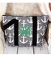 Gray and White Anchor with Black Trim Insulated Lunch Bag #LT15-706-GR-BK