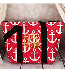 Pink and White Anchor with Black Trim Insulated Lunch Bag #LT15-706-PK-BK