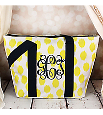 Yellow Brushed Dots with Navy Blue Trim Insulated Lunch Bag #LT15-707-Y-BL