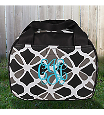 Petals in Black Bowler Style Insulated Lunch Bag #LT9-1348-BK