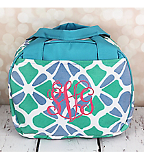Petals in Blue Bowler Style Insulated Lunch Bag #LT9-1348-BL