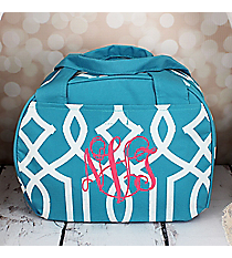 Light Blue Trellis Bowler Style Insulated Lunch Bag #LT9-1349-BL
