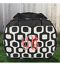 Black Mod Squares Bowler Style Insulated Lunch Bag #LT9-1350-BK