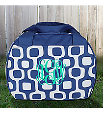 Blue Mod Squares Bowler Style Insulated Lunch Bag #LT9-1350-BL