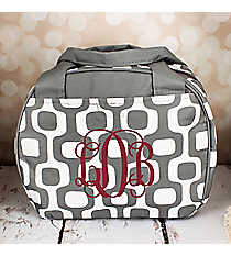 Gray Mod Squares Bowler Style Insulated Lunch Bag #LT9-1350-GR