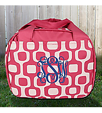 Pink Mod Squares Bowler Style Insulated Lunch Bag #LT9-1350-P