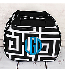 Black and White Greek Key Bowler Style Insulated Lunch Bag #LT9-704-BK-BK