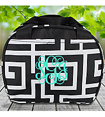 Black and Gray Greek Key Bowler Style Insulated Lunch Bag #LT9-704