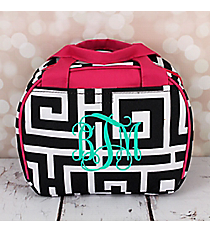Black and White Greek Key with Pink Trim Bowler Style Insulated Lunch Bag #LT9-704-BK-PK
