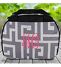 Gray and White Greek Key Bowler Style Insulated Lunch Bag #LT9-704-GRAY