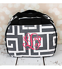 Gray and White Greek Key with Black Trim Bowler Style Insulated Lunch Bag #LT9-704-GRAY