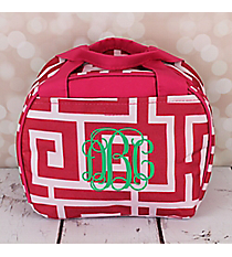 Pink and White Greek Key Bowler Style Insulated Lunch Bag #LT9-704-P