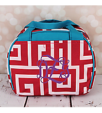 Pink and White Greek Key with Blue Trim Bowler Style Insulated Lunch Bag #LT9-704-PK-BL