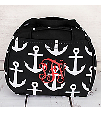 Black and White Anchor Bowler Style Insulated Lunch Bag #LT9-706-BK-BK