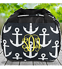 Black and Gray Anchor Bowler Style Insulated Lunch Bag #LT9-706