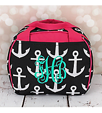 Black and White Anchor with Pink Trim Bowler Style Insulated Lunch Bag #LT9-706-BK-PK