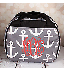 Gray and White Anchor Bowler Style Insulated Lunch Bag #LT9-706-GRAY