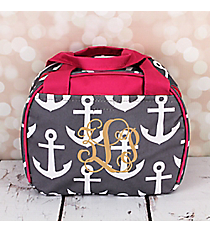 Gray and White Anchor with Pink Trim Bowler Style Insulated Lunch Bag #LT9-706-GR-PK