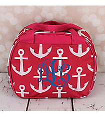 Pink and White Anchor Bowler Style Insulated Lunch Bag #LT9-706-P