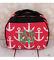 Pink and White Anchor with Black Trim Bowler Style Insulated Lunch Bag #LT9-706-PK-BK