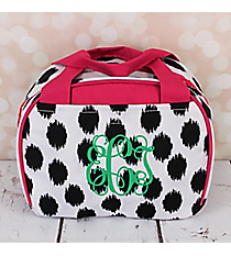Black Brushed Dots with Pink Trim Bowler Style Insulated Lunch Bag #LT9-707-BK-PK