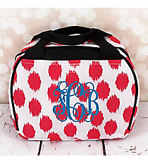 Pink Brushed Dots with Black Trim Bowler Style Insulated Lunch Bag #LT9-707-PK-BK