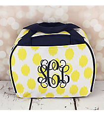 Yellow Brushed Dots with Navy Blue Trim Bowler Style Insulated Lunch Bag #LT9-707-Y-BL