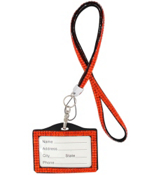 Bright Orange Sparkling Crystal Lanyard with Luggage Tag #N139X006V1