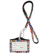 Light Multi-Color Sparkling Crystal Lanyard with Luggage Tag #N139X006D1