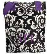 Damask with Purple Trim Insulated Lunch Tote #LT11-2010-PU