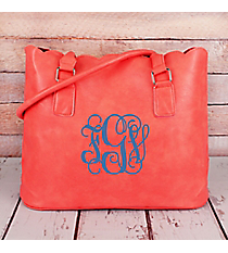 Coral Faux Leather Scalloped Tote #M826-CORAL