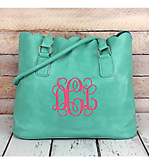 Mint Faux Leather Scalloped Tote #M826-MINT