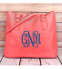Pink Faux Leather Scalloped Tote #M826-PINK
