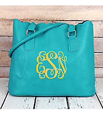 Sky Blue Faux Leather Scalloped Tote #M826-SKYBLUE