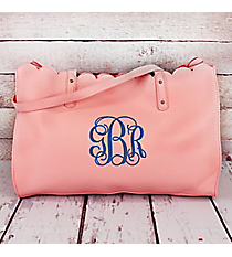 Baby Pink Faux Leather Scalloped Top Tote #M829-BABYPINK