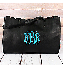 Black Faux Leather Scalloped Top Tote #M829-BLACK