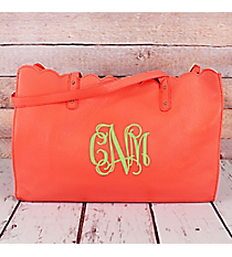 Coral Faux Leather Scalloped Top Tote #M829-CORAL