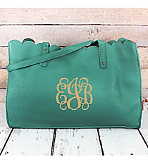 Mint Faux Leather Scalloped Top Tote #M829-MINT
