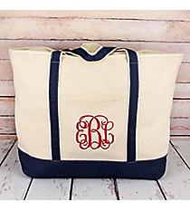 Canvas Boat Tote with Navy Trim #M831-NAVY