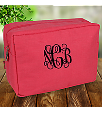 Pink Jute Cosmetic Case #MA613-PINK