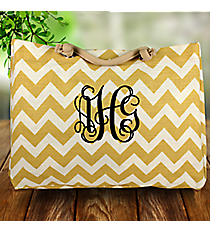 Large Gold Chevron Jute Shoulder Tote #MAG634-GOLD/WH