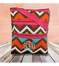 Multi Chevron Crossbody Bag with Hot Pink Trim #MGR231-HPINK