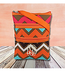 Multi Chevron Crossbody Bag with Orange Trim #MGR231-ORANGE
