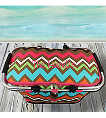 Multi Chevron with Hot Pink Trim Collapsible Insulated Market Basket with Lid #MGR658-HPINK