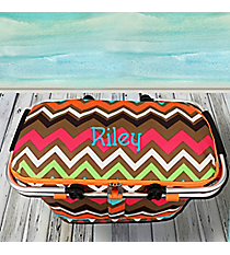 Multi Chevron with Orange Trim Collapsible Insulated Market Basket with Lid #MGR658-ORANGE