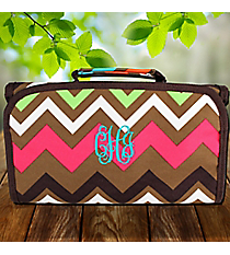 Multi Chevron Roll Up Cosmetic Bag with Brown Trim #MGR729-BROWN